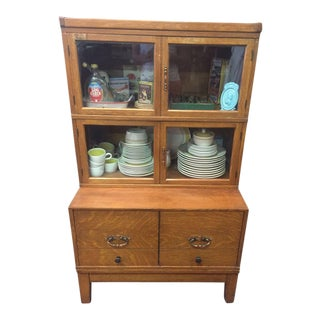 1920s Americana Oak Curio Display Cabinet For Sale