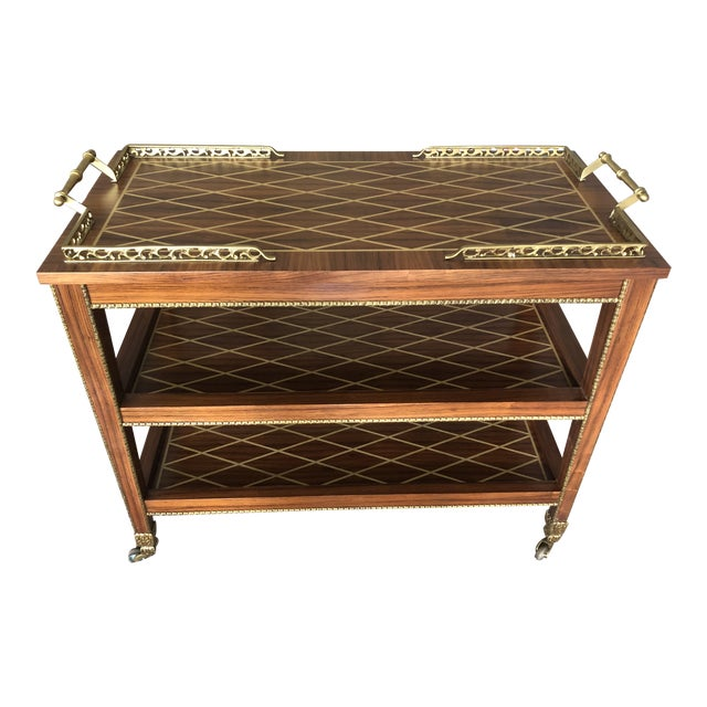 Italian Mixed Wood Inlay Bar Cart For Sale
