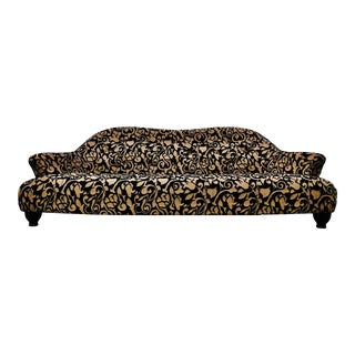 Modern Italian Velvet Jacquard Curved Sofa by Selva For Sale