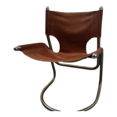 Italian Mid Century Cantilevered Aluminum & Leather Chair For Sale