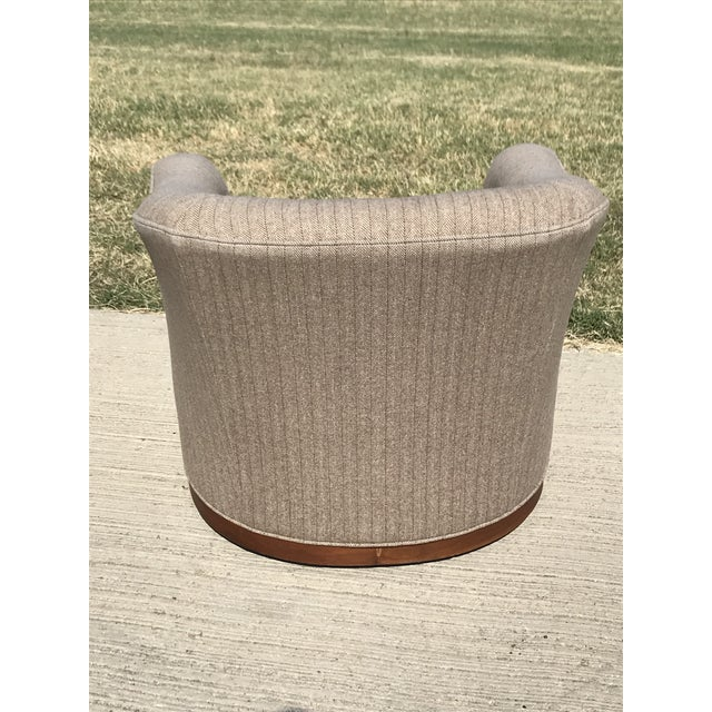 1980s Mid-Century Modern Swivel Club Chairs Wood Plinth Base - a Pair For Sale - Image 5 of 13