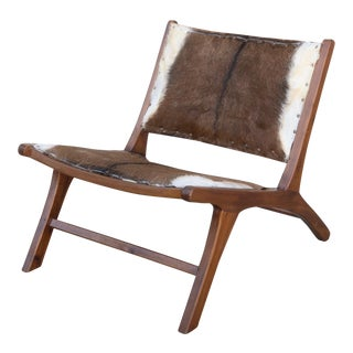 Vintage Mid Century Cowhide Lounge Chair For Sale