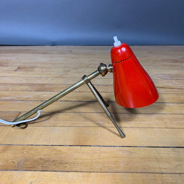 """O-Luce Red Giuseppe Ostuni 1950s """"Ochetta"""" Lamp for Oluce, Italy For Sale - Image 4 of 9"""