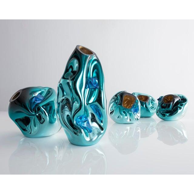 Unique petite crumpled sculptural vessel - Image 4 of 5