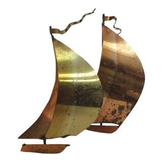 Vintage Brass & Copper Sailboat Sculpture For Sale