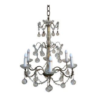 Clear Murano glass drop Chandelier For Sale
