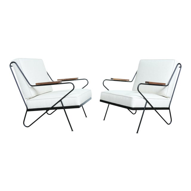 Wrought Iron Modern Chairs - A Pair - Image 1 of 9