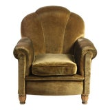 Image of 1930's French Art Deco Club Chair With Brown Velvet Upholstery For Sale