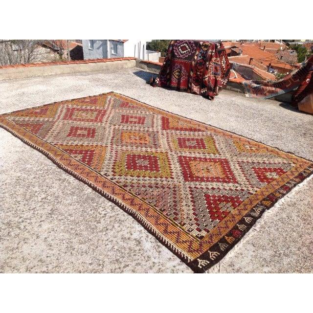 Islamic Vintage Turkish Kilim Rug - 6′9″ × 11′5″ For Sale - Image 3 of 6