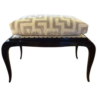 1930s French Art Deco Black Lacquered Bench Inspired by Dominique For Sale