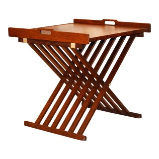 Stewart MacDougall for Drexel Campaign Walnut Tray Table