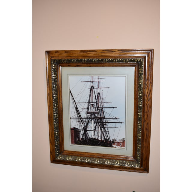 Nautical Vintage USS Constitution Framed Ship Print For Sale - Image 3 of 4