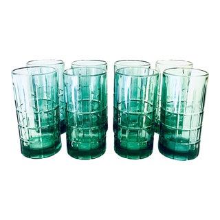 Anchor Hocking Cut Glen Plaid Sea Green Highball Glasses - Set of 8 For Sale