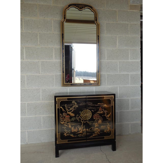 Drexel Et Cetera Black Lacquer Chinoiserie Decorated Console & Mirror For Sale - Image 12 of 12