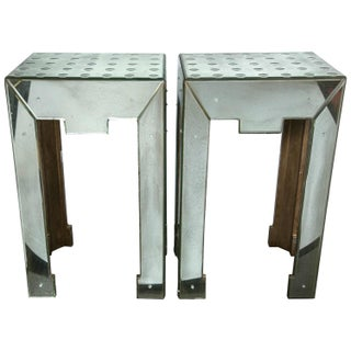 Mirrored Bullseye Art Deco Side Tables - Pair