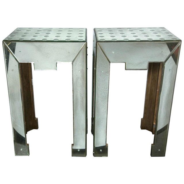 Mirrored Bullseye Art Deco Side Tables - Pair - Image 1 of 5