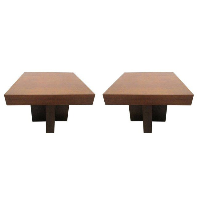 1960s Pair of Walnut Occasional Tables by Milo Baughman For Sale - Image 5 of 5