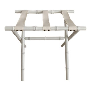 Faux Bamboo Chippendale Suitcase Luggage Rack Valet D. Draper Style For Sale