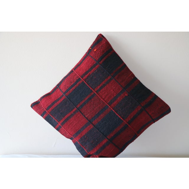Red Turkish Kilim Pillow For Sale - Image 4 of 5