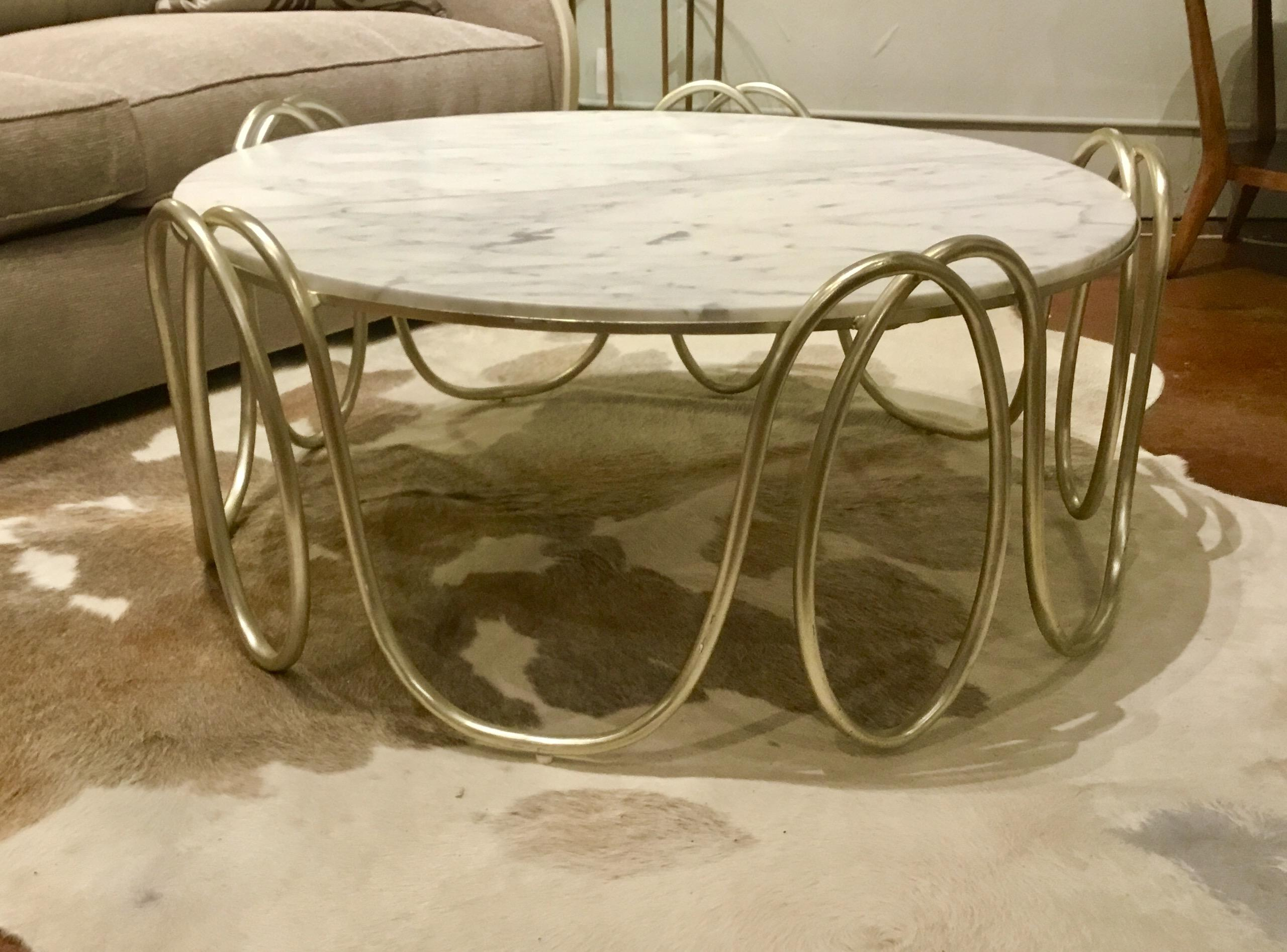 INV# .2242Y Curvaceous Round Henredon Cocktail Table With A Soft Silver  Base And Carrara