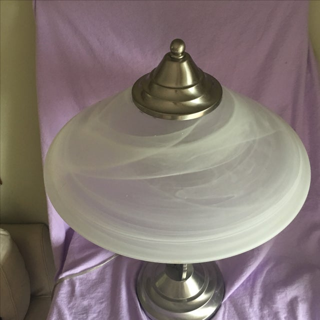 Contemporary Stainless Lamp & White Glass Shade - Image 5 of 5