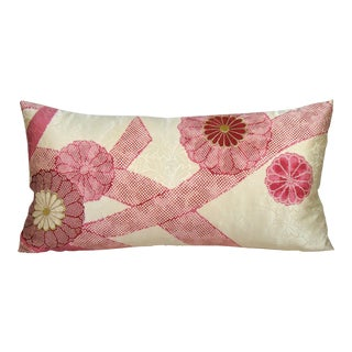 Vintage Japanese Silk Floral Furisode Pillow Cover For Sale