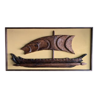 Mid-Century Witco Carved Teak Viking Ship Wall Art For Sale