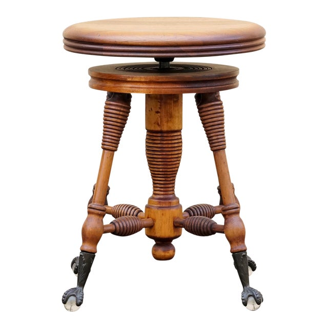 Antique Piano Stool With Claw and Glass Ball Foot For Sale
