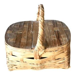 Antique Woven Wooden Basket For Sale
