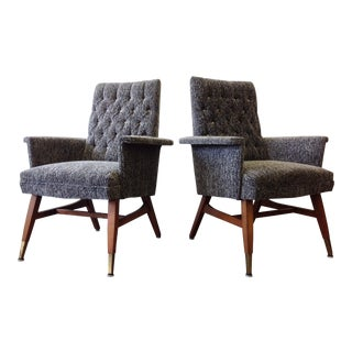 Vintage Pair of Newly Upholstered High Back Lounge Chairs For Sale