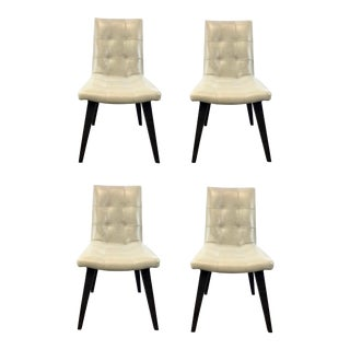 Mid-Century Modern Style Tufted Ivory Leather Dining Chairs-Set of Four For Sale