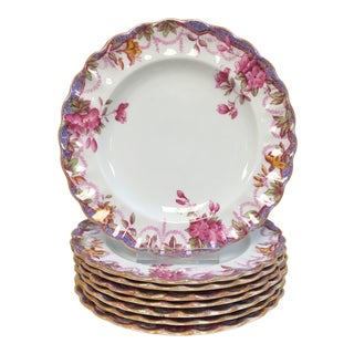 Spode Irene Pink & Lavender Accent Bread Plates Set of 8 For Sale