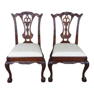 Maitland Smith Chippendale Style Carved Mahogany Side Chairs- a Pair For Sale