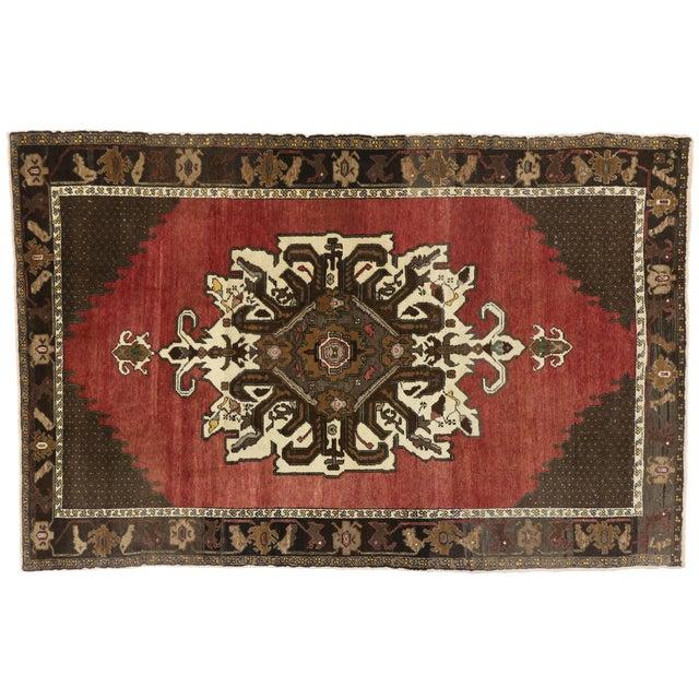 Vintage Mid-Century Turkish Oushak Area Rug - 5′8″ × 8′9″ For Sale