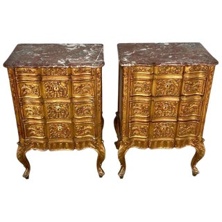 Pair of French Giltwood Diminutive Marble-Top Commodes For Sale