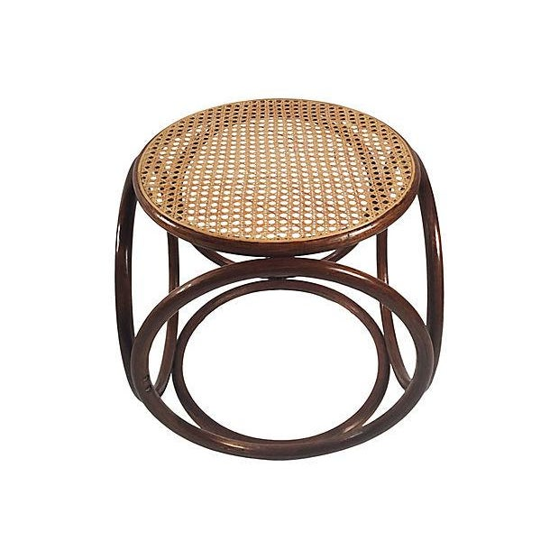 Thonet 1960s Bentwood Rattan Footstool For Sale - Image 4 of 7