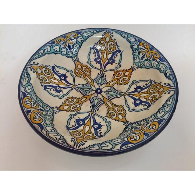 Moroccan Large Ceramic Plate Bowl From Fez For Sale - Image 12 of 13