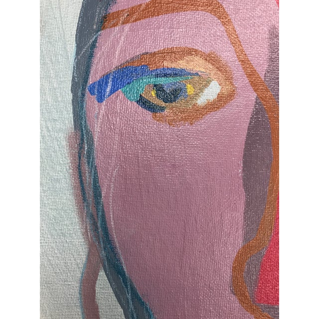 """Red Contemporary Abstract Portrait Painting """"This Is It, No. 2"""" - Framed For Sale - Image 8 of 12"""