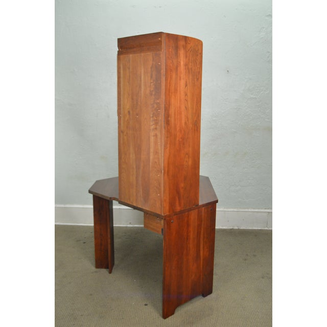 Cherry Wood Stickley Solid Cherry Corner Desk w/ Bookcase Top For Sale - Image 7 of 10