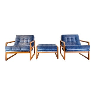 Milo Baughman Scoop Chair and Ottoman Set- 3 Pieces For Sale