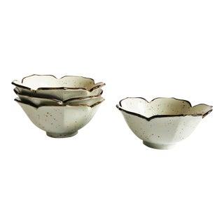 Vintage Speckled Pottery Lotus Bowls - Set of 4 For Sale