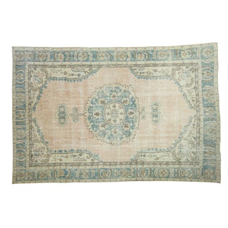 "Distressed Oushak Carpet - 6'8"" X 10'1"""