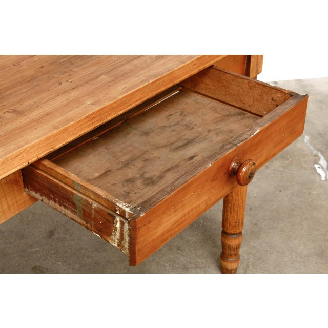 Rustic Farmhouse Oak Work Table or Console For Sale In San Francisco - Image 6 of 13