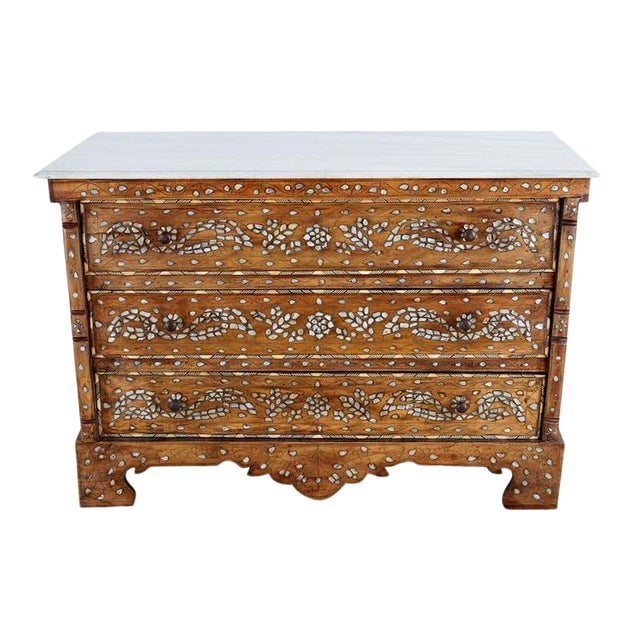 Moorish Pearl Inlay Carved Wedding Chest of Drawers For Sale
