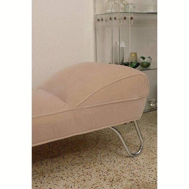 Vintage 1920s Kem Weber Chaise Streamline Moderne Style in Polished Chrome and Camel/Tan Mohair For Sale - Image 10 of 12