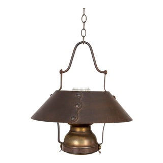 Rustic Oil Lamp Style Metal and Glass Lantern For Sale