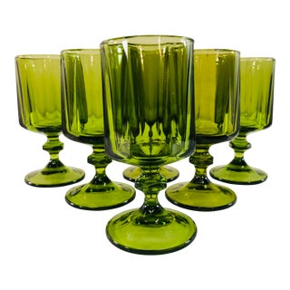 Vintage 1960s Green Glass Wine Stems, Set of 6 For Sale