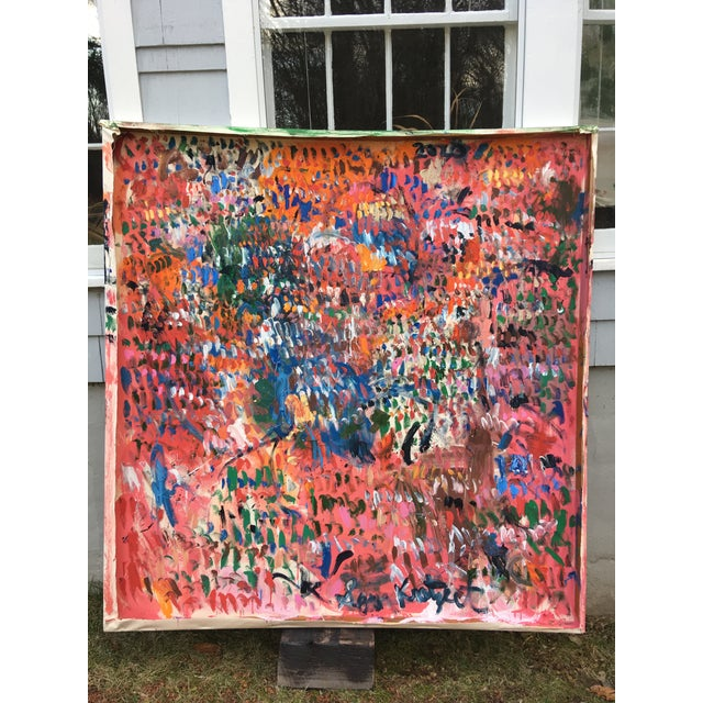 Canvas 'History of Time' Abstract Oil Painting on Back of Canvas by Sean Kratzert For Sale - Image 7 of 8