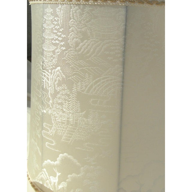 Late 20th Century Vintage Asian Landscape Motif Fabric Lamp Shades - a Pair For Sale - Image 5 of 8