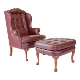 Vintage Tufted Leather Wingback Chair & Ottoman For Sale